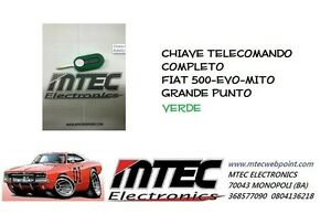 Schlüssel Cover Fernbedienung Fiat Neu 500 Grande Punto Evo Lancia Grün