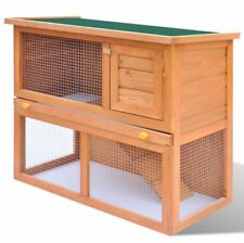Rabbit Hutch Guinea Pig Small Animal House Pet Cage With 1 Door Wooden 2 Storey