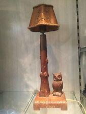 wooden statue owl lamp black forest antique wood carved desk table lamp
