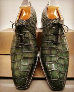 Handmade men green crocodile textured shoes, Leather dress shoes for men, formal