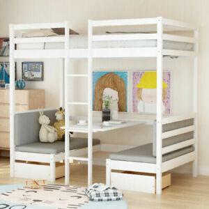 Double Studio Loft Bunk Bed Over Desk Kids Teens Bedroom Wood Furniture White