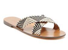 J Crew Factory - 11 M - NWT$69 - Zig Zag Poly-Straw Raffia Seaside Slide Sandals