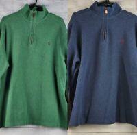 2 Polo Ralph Lauren Men's 1/4 Zip Pullover Blue & Green 100% Cotton Size XL EUC