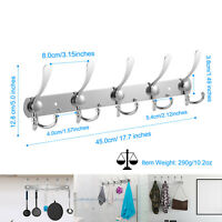 15 Hooks Coat Robe Hat Clothes Wall Mount Hook Hanger Towel Rack Stainless Steel