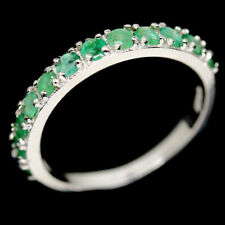 NATURAL GREEN EMERALD STERLING 925 SILVER RING SZ 6.75