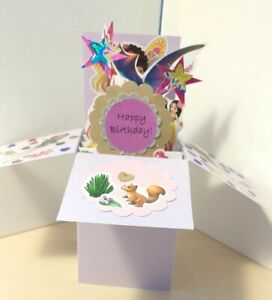 Birthday Princess 2 Young Girl Exploding Pop Up Box Card- Free Ship in USA