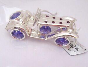 Figurine/Ornament-ROADSTER CAR convertible Austrian Crystal- silver plate purple