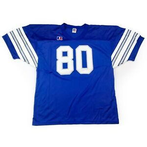 Blue & silver old school Rawlings vintage jersey #80 youth XL Mens S made in USA