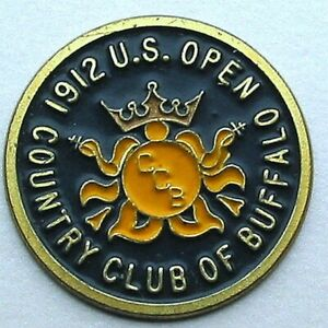 """US OPEN 1912 HAND PAINTED 1"""" COIN GOLF BALL MARKER COUNTRY CLUB OF BUFFALO"""