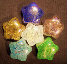 "Big Colorful Glass Crackle Shooting Stars Pendant Mix 4 X 32mm 1.25"" New Marbles"