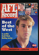 1999 AFL Football Record Fremantle Dockers vs Carlton Round 19 unmarked