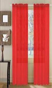 "2 PANELS VOILE SHEER FABRIC ELEGANT WINDOW CURTAIN DRAPE USE MANY STYLES 52""X84"""