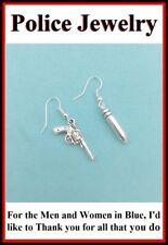 Gun and Bullet Pendant Dangle Silver Earrings.