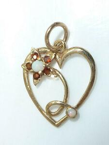 Fine 9ct Yellow Gold Opal Ruby Flower Love Heart Pendant Sweetheart Gift