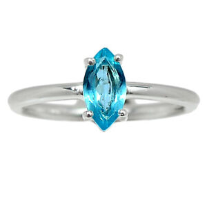 Faceted Aquamarine - Brazil - Stone Of Courage 925 Silver Ring s.5.5 BR96549