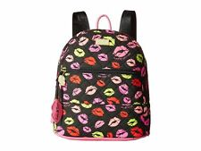 NEW! BETSEY JOHNSON QUILTED BACKPACK Bag Hot LIPS KISS Smooch Multi Colored FUN