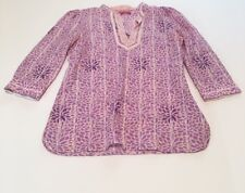 Robert Graham Women's Pink Purple Blouse Sequin Details Size Medium 100% Cotton