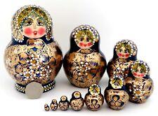 NAVY BLUE GOLD Matryoshka Nesting Russian dolls Babushka 10 AYMASOVA signed GIFT