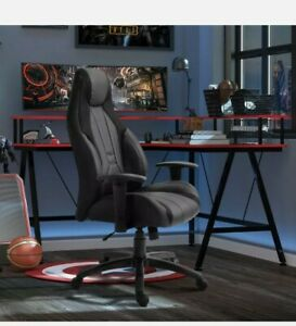^ PU Leather Upholstered Adjustable-Sit Home Office Chair Grey/Black 7:21