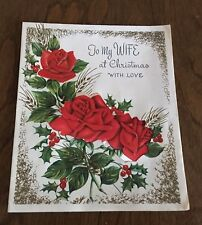 Vintage Christmas Card - To my Wife at Christmas with Love - Raised Satin Roses