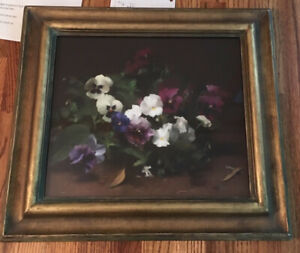 "Lindesay Harkness Original 15x13"" Pastel-Canvas Painting ""Pansies in the Garden"""