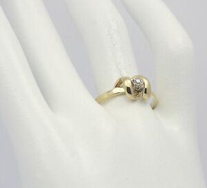 ♦ Ring 14 kt 14k 585er Gelb Gold mit Diamant Diamantring Gr. 58,5 Damen Solitär