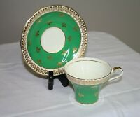 Vintage Aynsley Green Gold Cup & Saucer Set - England - Bone China