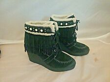Sam Edelman Kemper Black Suede Double Fringed Wedge Boots Booties 8 1/2