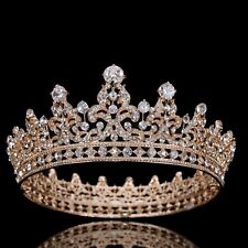 CZ Crystal Diadem Crown Pageant Party King Queen Clear Rhinestone Tiara Headband
