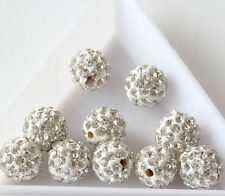 20pcs Czech Crystal Rhinestones Round Disco Ball Loose Spacer Bead 10mm [white]