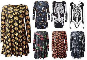 Women Ladies Halloween Costume Pumpkin Skull Print Long Sleeve Party Swing Dress