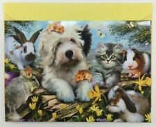 """Leanin' Tree Easter Card - Pets - Dog, Cat, Bunnies and Hamsters """"Warm Fuzzy"""""""