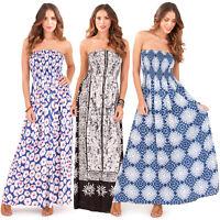 Pistachio Womens Bandeau Patterned Sun Dress New Ladies Strapless Summer Maxi