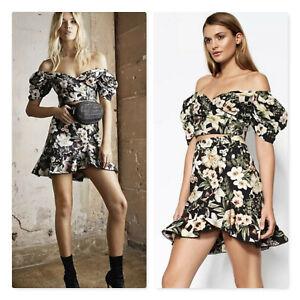 SHEIKE | Womens Off Shoulder Floral Crop Top + Skirt  [ Size AU 14 or US 10 ]