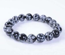 "10mm Snowflake obsidian round gemstone beads stretchable bracelet 7.5""J39"