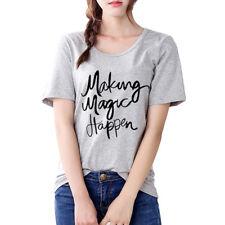 Camiseta de Mujer Sexy Chica Carta Manga Corta Blusa Casual Tops Playa de Verano