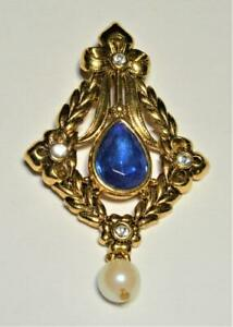 Vintage Signed AVON Goldtone Blue Rhinstone with Dangle Faux Pearl Pin Brooch