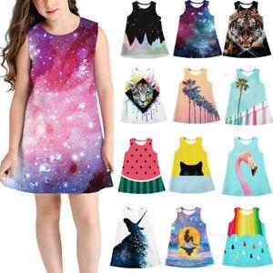 Fashion 3D Digital Print Kid Girl Sleeveless Dress Party Princess Dresses New