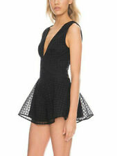 a4aa770e66d3 Finders Keepers Begin Black Lace Playsuit Romper Peplum Plunging Neckline S