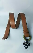 POLO RALPH LAUREN DOUBLE-O-RING DISTRESSED BROWN LEATHER BELT SIZE: M