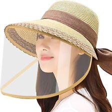 Removable Protective Straw Hat,Womens Beach Sun Straw Hat Wide Brim (Khaki)