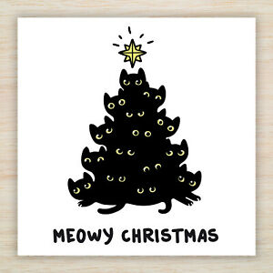 "Cute Cat Christmas Blank Cards & Packs - Cat Lovers ""Meowy Christmas""  FREEPOST"
