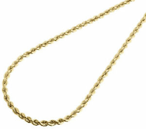 Mens Ladies 1/10th 10K Yellow Gold 3mm Hollow Rope Chain Necklace 16-30 Inch