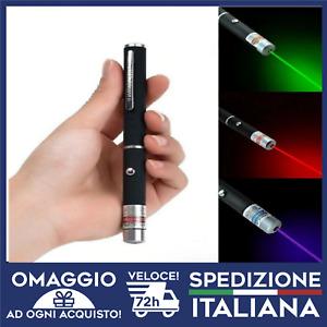 IN ITALIA Pointer Penna Puntatore Laser ROSSO VERDE VIOLA/BLU Spedizione 🇮🇹