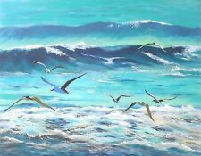 """BEACH SEASIDE seascape birds canvas picture print 12"""" x16""""stretched over frame"""