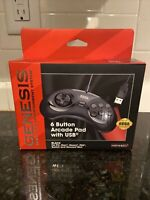 Retro-Bit Official USB Controller 6-Button for Sega Genesis Mini PC/Mac - Black