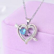 925 Sterling Silver Necklace Blue & Purple Topaz Heart Pendant UK Seller