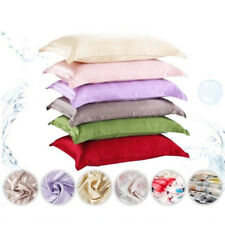 Silk Satin Pillow Cases Soft Bed Cushion Duvet Cover Comfy Silky Fitted Sheet