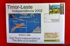 2002 EAST TIMOR LESTE INDEPENDENCE 1ST STAMP ISSUE 50c STAMP COVER WITH CACHET