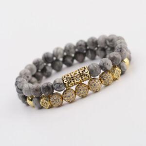 2019 Luxury Micro Pave CZ Ball Crown Charm Bracelets Men Jewelry Landscape Stone